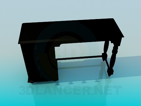 3d model Wooden desk - preview