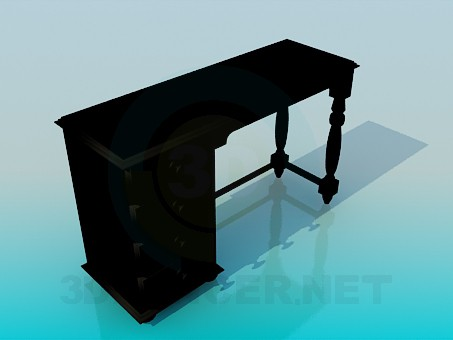 3d модель Дерев'яний письмовий стіл – превью