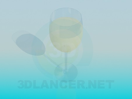 3d model A glass of white wine - preview