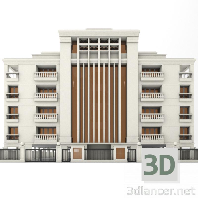 3d model 5 storey building, max(2015), fbx, Classicism- Free