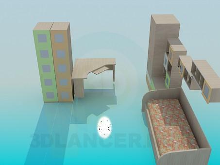 3d моделирование Мебель в детскую комнату модель скачать бесплатно