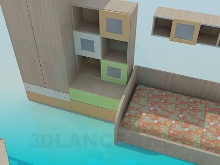 3d модель Мебель в детскую комнату – превью