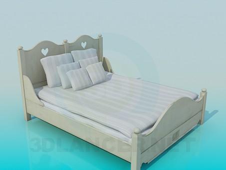 3d модель Кровать двуспальная – превью