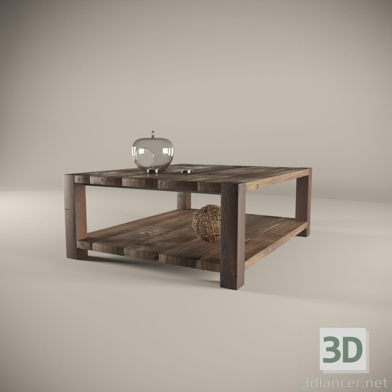 3d Solid wood coffee table model buy - render
