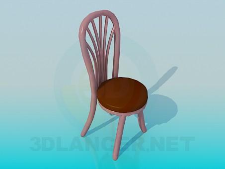 3d модель Стілець з масивними ніжками і спинкою – превью