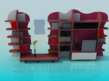 descarga gratuita de 3D modelado modelo Muebles estante de la pared
