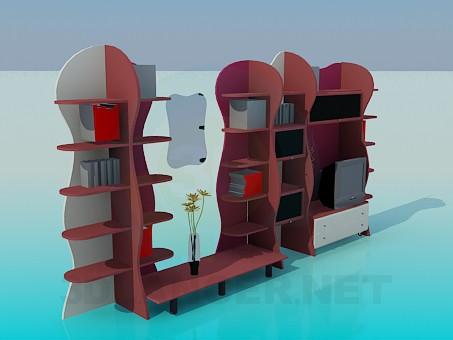 3d модель Мебельная стенка-стеллаж – превью