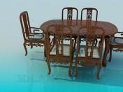 खाने की मेज और कुर्सियों