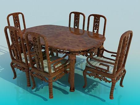 modelo 3D Mesa de comedor y sillas - escuchar