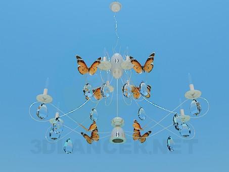 3d модель люстра - Бабочки – превью