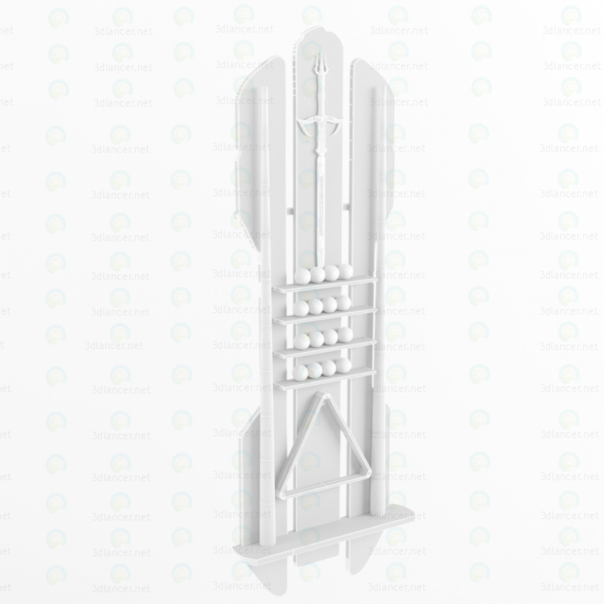 3d Richard Stand for pool cue model buy - render