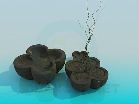 modelo 3D Macetas con flores - escuchar