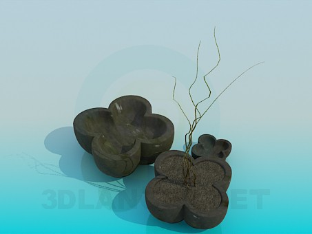 3d model Pots with flowers - preview