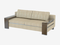 Double sofa with wooden armrests