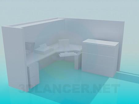 modelo 3D Área de oficinas - escuchar
