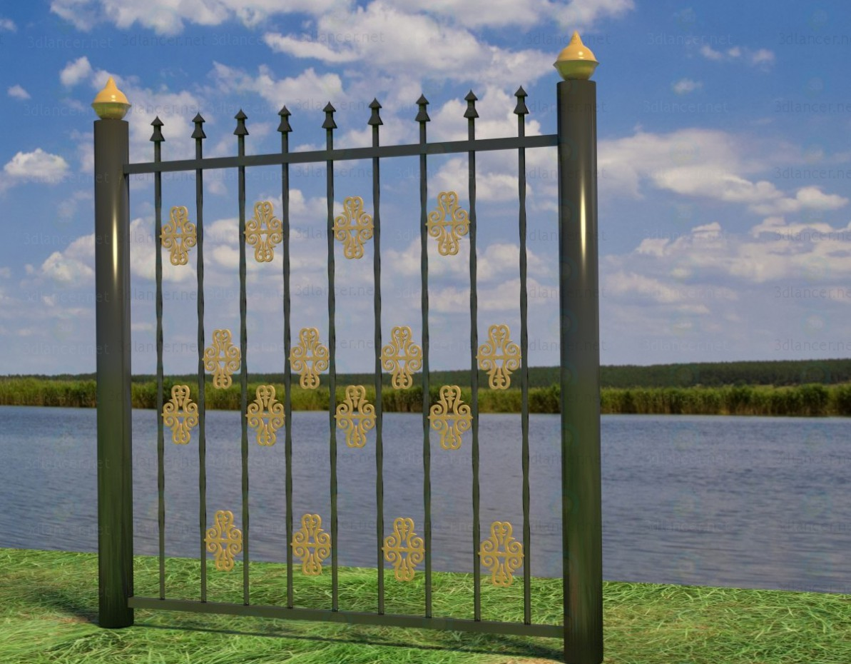 3d model metal fence style high tech download for free for 3d fence