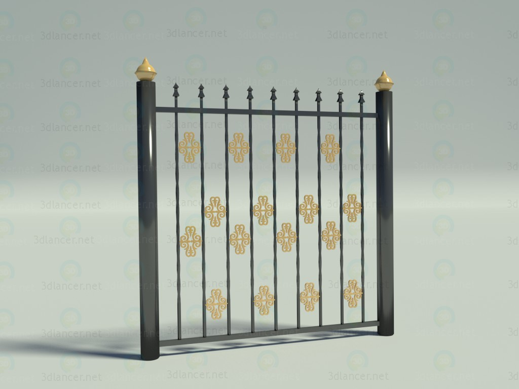 3d Model Metal Fence In The Style Of High Tech ID 11487
