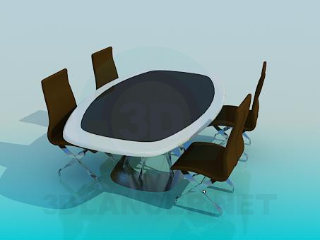 3d model Business table and chairs - preview