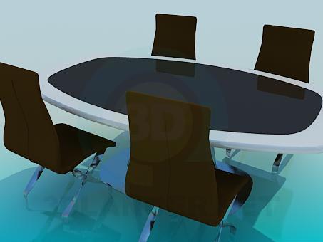 modelo 3D Sillas y mesa de negocios - escuchar