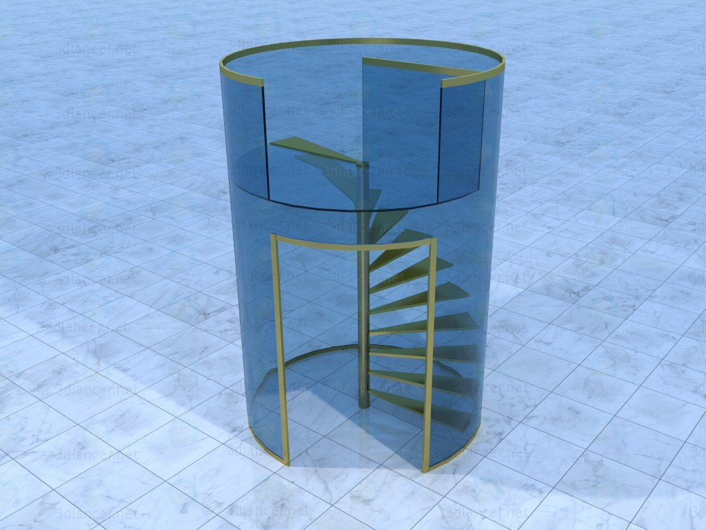 3d model Spiral staircase - preview