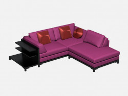 Sofa modular angular (small, with shelves) Aquitaine