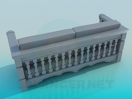 modelo 3D Sofá con brazos de madera - escuchar