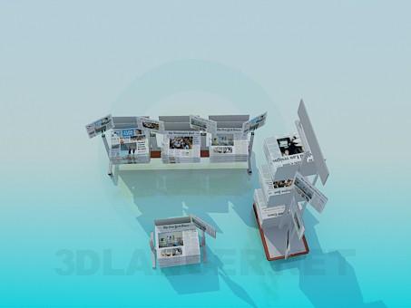 Modelo 3d Stands com jornais - preview