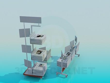 modelo 3D Soportes con periódicos - escuchar