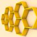 3d Wooden shelf honeycomb model buy - render