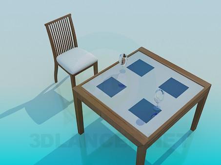 3d model Conjunto mesa y silla - vista previa