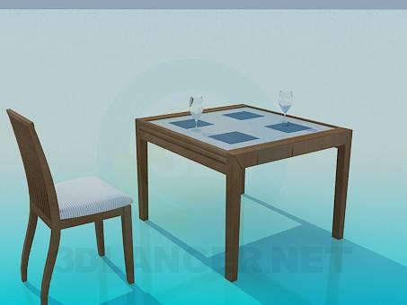 3d модель Стол и стул в комплекте – превью