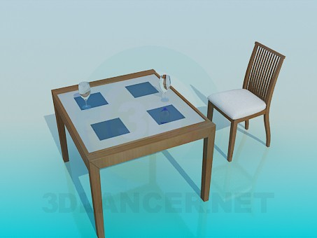 3d model Table and Chair set - preview