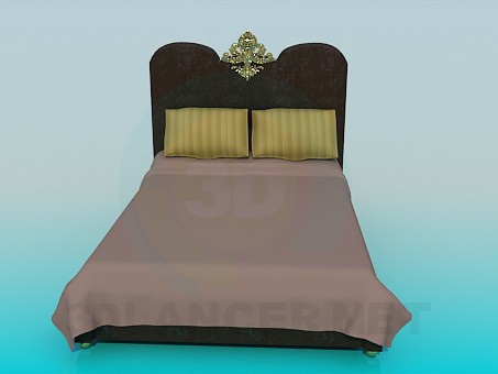 3d modeling Bed with golden decoration model free download