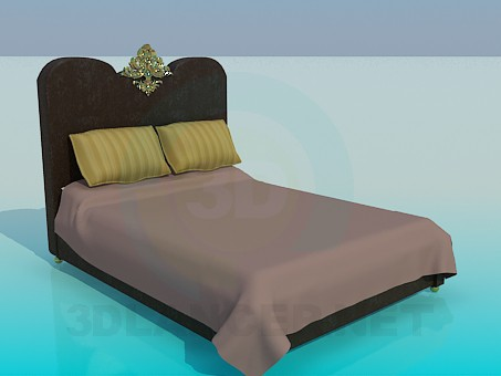 3d model Bed with golden decoration - preview