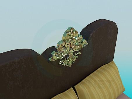 3d модель Кровать с золотистым украшением – превью