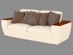 Double leather sofa with shelves on the armrests