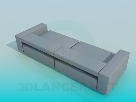modelo 3D Sofá con respaldo bajo - escuchar