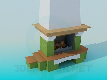 descarga gratuita de 3D modelado modelo Chimenea con estantes de madera