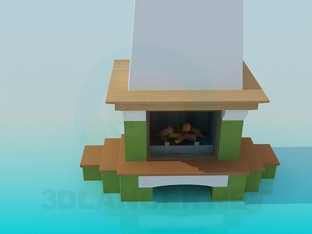 3d модель Камін з дерев'яними поличками – превью