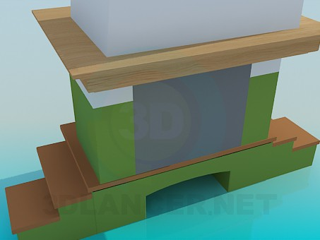 3d model Fireplace with wooden racks - preview