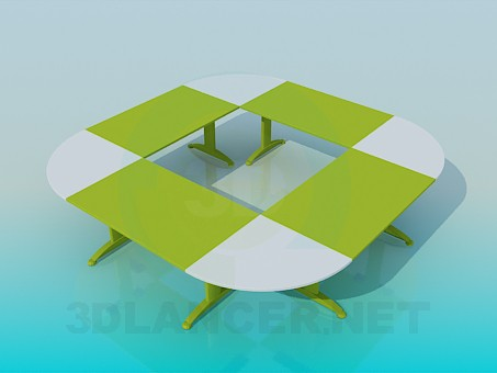 3d model A table for meetings - preview
