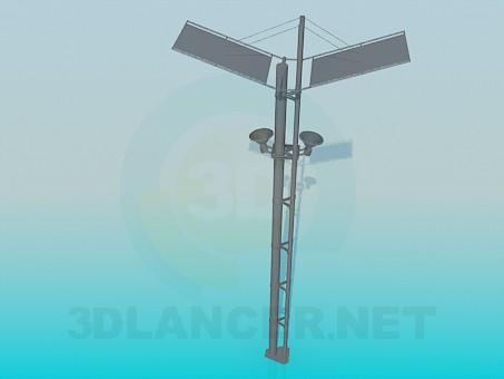 modelo 3D Post con altavoces - escuchar