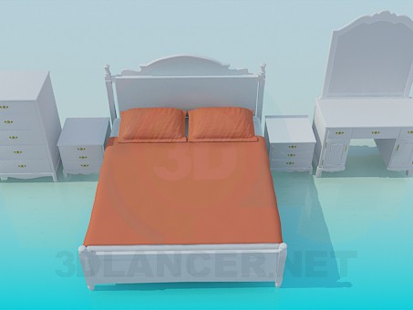 3d modeling A set of furniture for bedroom model free download
