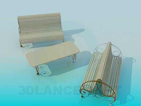 3d model Outdoor benches - preview