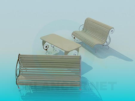 modelo 3D Bancos al aire libre - escuchar