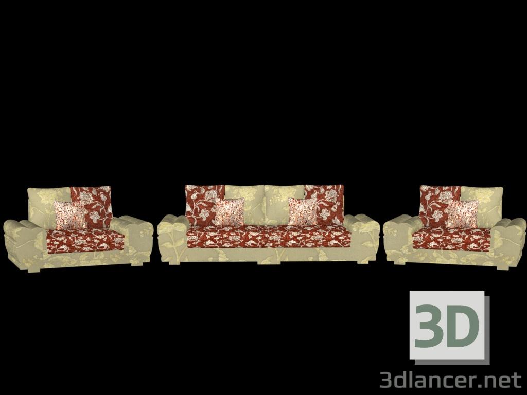 3 डी मॉडल सोफा और 2 आर्मचेयर - पूर्वावलोकन