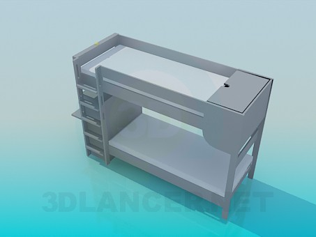 3d model Bunk bed with stairs and desk - preview