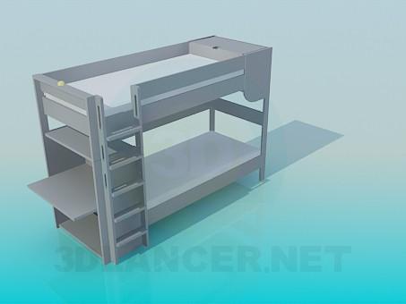 3d модель Двухярусная кровать с лестницей и партой – превью