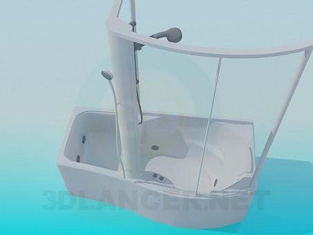 modelo 3D Baño con ducha - escuchar