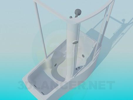 3d модель Ванна с душевой кабиной – превью